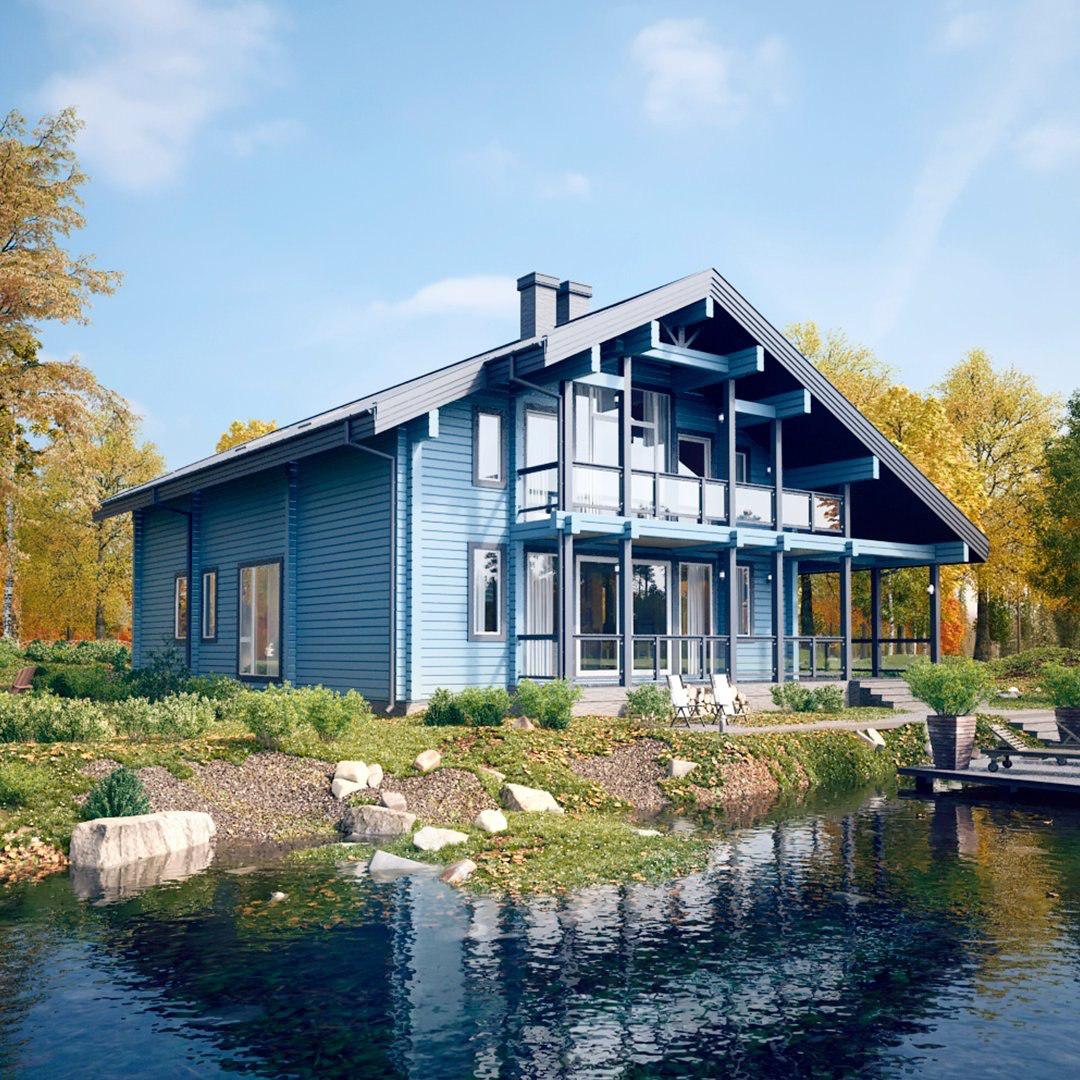 Вариант расположения дома по проекту СВ-8 возле водоема