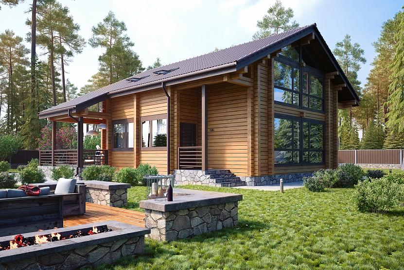 Классический дом из клееного бруса с панорамным остеклением фасада