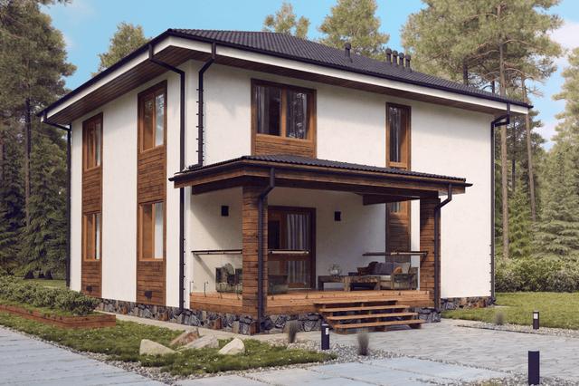 Вариант отделки комбинированных домов  - фото 1