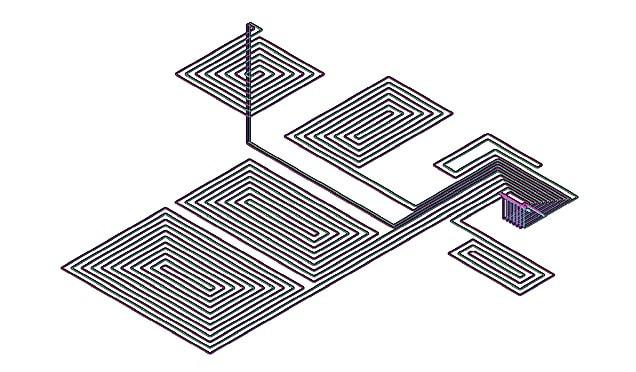 Схема укладки контуров теплого пола