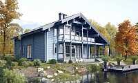 Лучшие проекты домов из клееного бруса с большим остеклением - фото 1